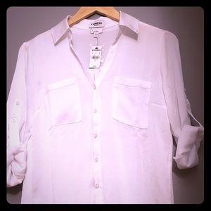 Express silk like white portofino shirt NWT size S